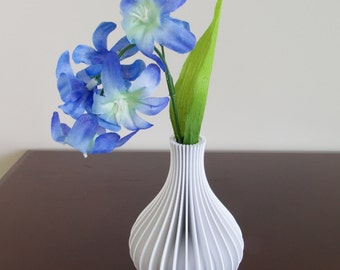 3D Printed Vase - White - Short Fluted Design - Accent Piece