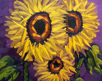 Sunflower painting, sunflower decor, sunflower art, sunflower oil painting, sunflowers painting, purple, sunflowers art
