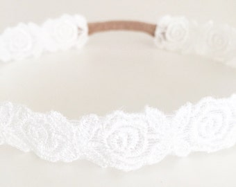 White floral lace wrap around baby toddler headband