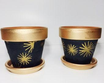 Black and Gold Indoor Planter // Metallic Print Pot // Twilight Indoor Planter