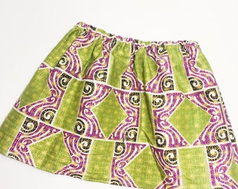 African Print Girls' Skirt // Green and Purple Elastic Girls' Full Skirt // Printed Skirt for Girls (Green and Purple)