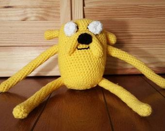 Jake the Dog inspired stuffed animal, amigurumi. Hand crocheted. Adventure Time cartoon.