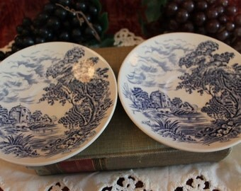 Set of 2 Wedgwood Countryside Blue Transfer Saucers - Made in England