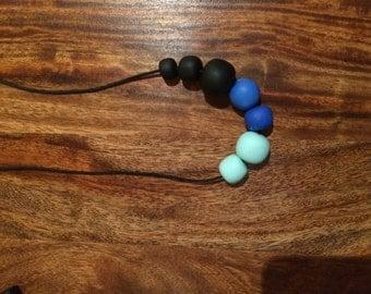 Dark rainy sky- polymer clay bead necklace