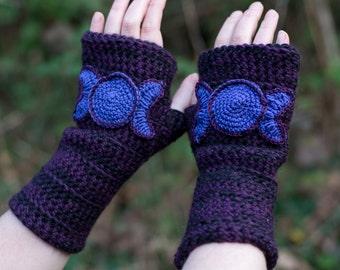 Triple Goddess crochet fingerless mitts