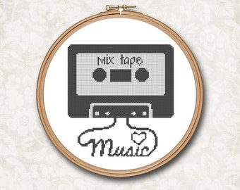 Vintage Retro Mix Tape Cassette Music Hipster Modern Counted Cross Stitch Pattern - PDF Digital Download