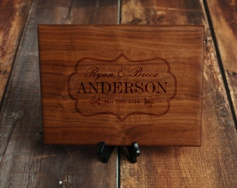 Elegant Personalized Cutting Board for Wedding Gift - Custom Serving Tray with Names and Established Date - Walnut Wood