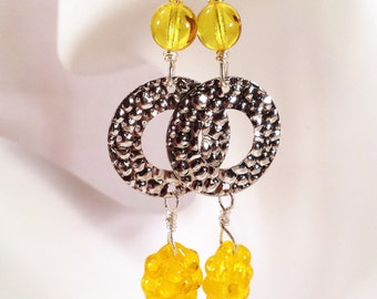 Yellow Glass Beaded Dangled Earrings