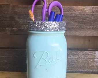 Light blue and silver glitter mason jar. Pencil holder, makeup brush holder. Party decor