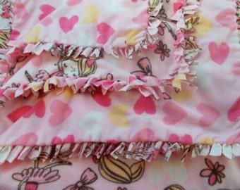 Pink Print Ballerina Tied Fleece Throw