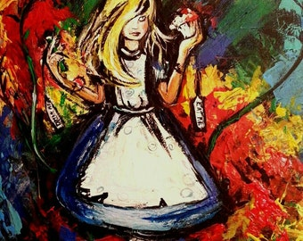 Alice in Wonderland painting by Angela Turney