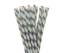 Paper Straws, Yellow Navy and Aqua Plaid Paper Straws, Little Man Party Supplies, Paid Summer Picnic, Shabby Chic Easter Brunch Paper Straws