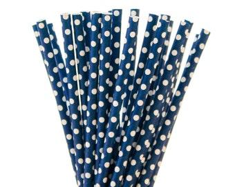 Paper Straws, Navy Paper Straws, Navy Polka Dot paper Straws, Blue with small white dots straws, blue baby shower nautical birthday wedding
