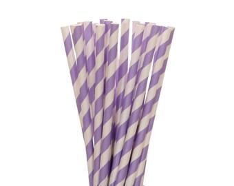 Paper Straws, Lavendar Striped Paper Straws, Lavendar Birthday Party Paper Straws, Spring Party Decor, Bridal Shower Straws, Spring Brunch