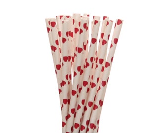 Paper Straws, Red Heart Paper Straws, Valentine's Day Party Supplies, Anniversary Party Straws, Red Heart Wedding Paper Straws, Heart Straws