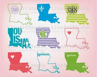 Louisiana SVG Collection State Files - SVG File - Monogram Svg State - American States Svg Files - Svg Silhouette Files - Svg Cricut Files