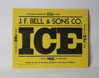 Vintage J.f. Bell & Sons Co Ice Service Delivery Card