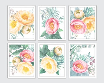 watercolor peony prints pink and yellow peonies art flowers nursery