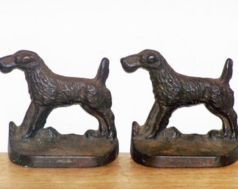 Metal Airedale Dog Bookends