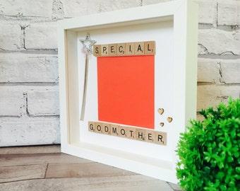 Beautiful Godmother Gift, Godmother Frame, Personalised Godmother Godfather Godparents Gift Frame, Personalised Godparents Picture Framed
