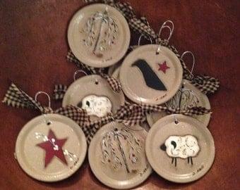 Prim Canning Jar Flat Ornaments