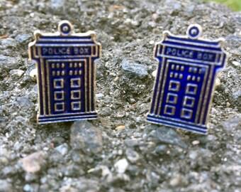 Dr Who Tardis Blue Police Box Cufflinks