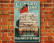 "Cunard Lines Travel Poster - 11"" x 17"" - #0044"