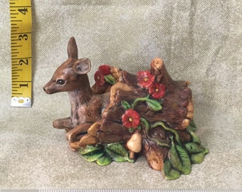 Fawn in Hollow Log - Red Flower