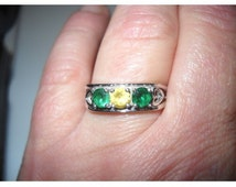 Old Solid 10k White Multi-Colored Gem Ring