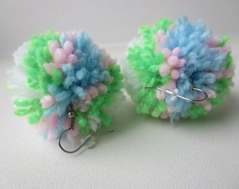 Earrings pompons many colors