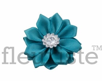 TEAL Ribbon Flower With rhinestone center, Satin flower, Fabric rose, Rolled Rosette, Wholesale Flower, Fabric Flower, Satin Flower, 3pc
