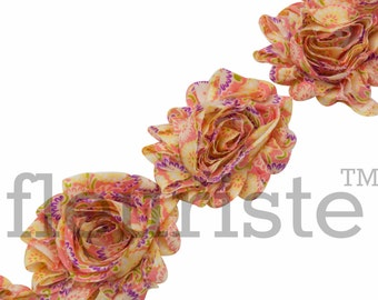 Shabby Rose Trim, Shabby Flower Trim, Shabby Flowers, Shabby wholesale, Shabby Trim, Chiffon flower, Shabby by yard, Floral 139