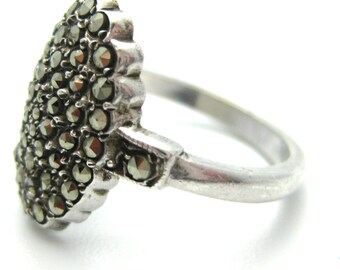 1940s Vintage Size: L / 6 Silver Ring | Sterling Silver Oval Marcasite Ring | Marcasite Brooch | FREE DELIVERY