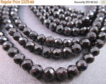 ON SALE Hematite Faceted Round Beads 6mm 68pcs