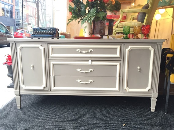 Vintage shabby chic Credenza restored and painted circa