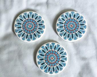 Greek Vintage Coasters // Red and Blue Coaster // Vintage Home Decor // Boho Home Decor // Boho Chic Decor (B11)