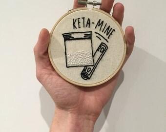 handmade mini ketamine inspired embroidery hoop design