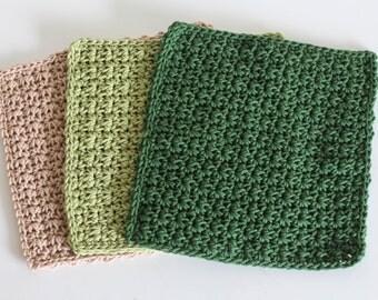 Knit Dish Cloths- Green Dish Cloths- Cotton Dish Rag- Dish Towels- Wash Cloth - Beige dish cloth - Set of 3 dish cloths - crochet dish cloth