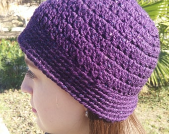 Crochet Beanie Hat in Purple with Multicolor Details
