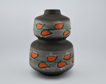 Strehla 1401 Orange, Green petals on Bulbuous grey vase DDR