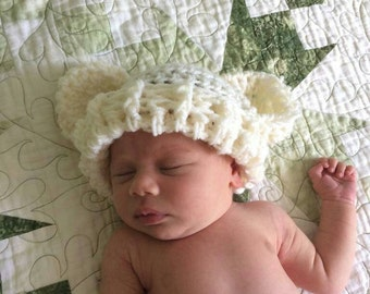 Crocheted Baby Bear Hat * Toque * Cute * Cozy * Newborn