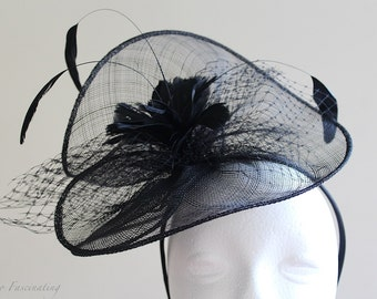 Black sinamay fascinator with shaped feathers and veiling