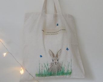 Hand painted little rabbit tote bag