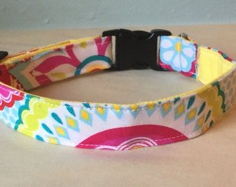 Blue, Yellow, & Pink Girly Flower Dog Collar