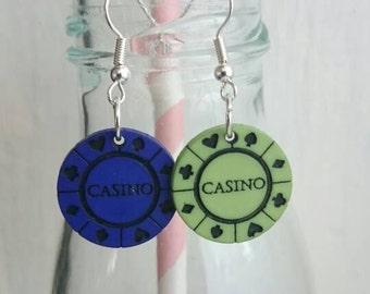 OOAK Retro casino chip earrings