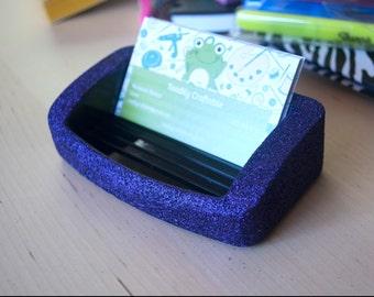 Purple Business Card Holder, Office Supplies, Glitter Office Supplies, Decorative Business Card Holder, Purple Office Supplies, Glam Office