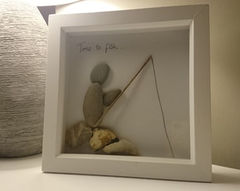 Time to Fish Pebble Art, personalised pebble Art, fathers day gift, pebble Art, fishing, fisherman, unique gift