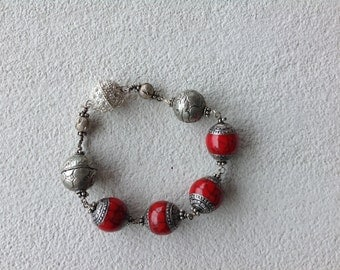 Red Bali bead and silver bracelet with magnetic clasp