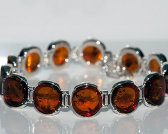 Amber bracelet. Cognac Baltic amber in sterling silver setting.