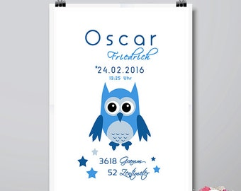 DIN A3 birthdates mural 'OWL' blue personalized print